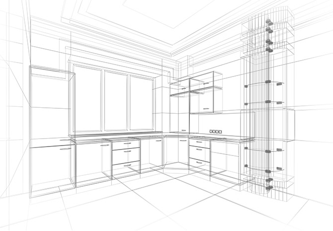 Development plan kitchen cabinets and bathrooms